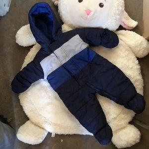 Newborn Navy Blue & Gray Winter Snowsuit